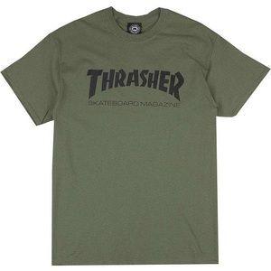 thrasher skate mag army green t shirt